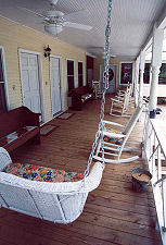 Deck in front of the bedroom wing